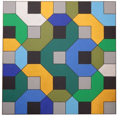 Tessellation: Squares & Hexagons (with gold & silver)